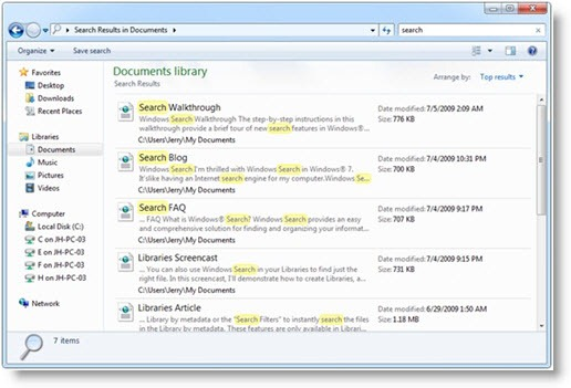 Windows 7 Search - Content View