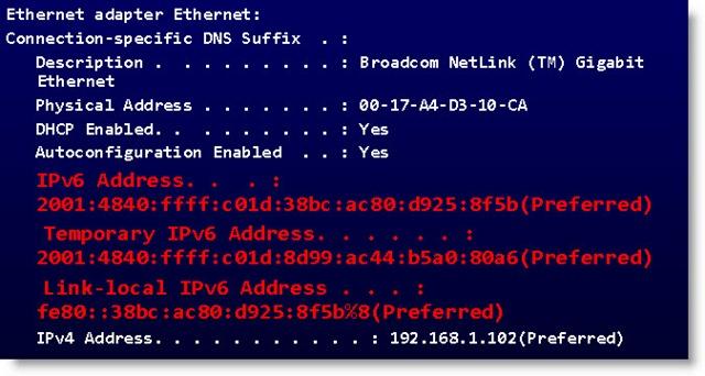 Network adapter - IPv6 & IPv4 addresses