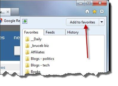 Internet Explorer 9 Favorites