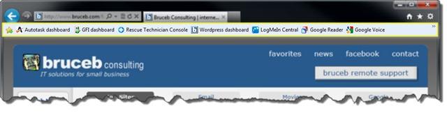 Internet Explorer 9 Favorites Bar