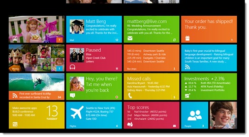 Microsoft Window 8 - tablet home screen