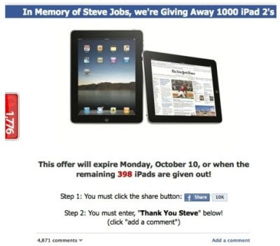 Facebook - free iPad scam