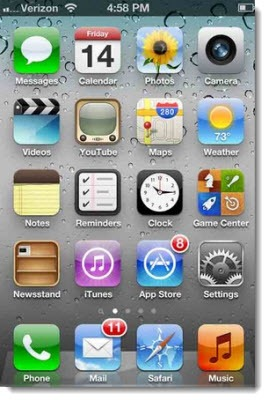 Apple iPhone 4s home screen