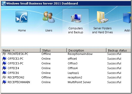 Small Business Server 2011 Essentials workstation backup