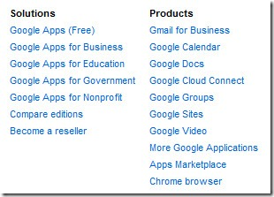 Google Apps For Business - products