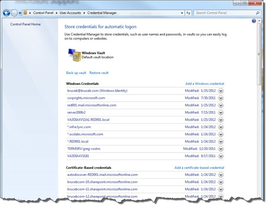 Windows 7 Credential Manager