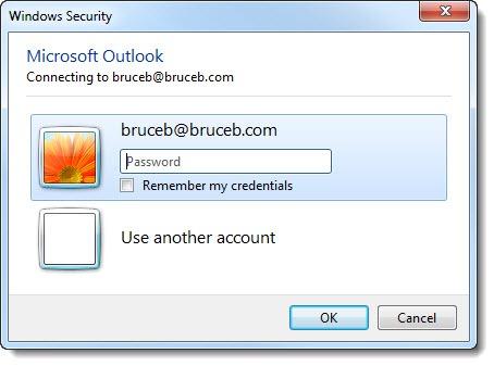 Outlook password prompt