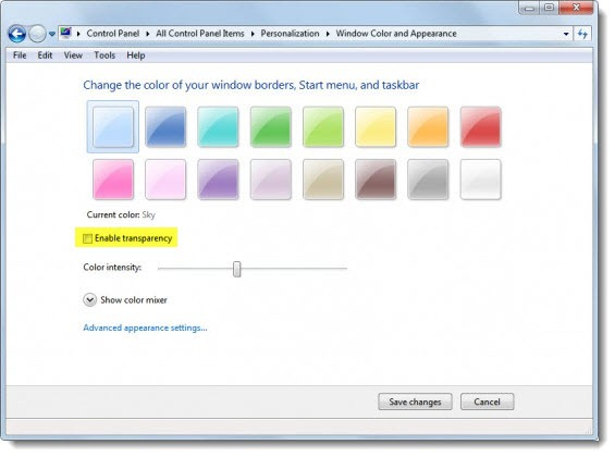 Windows 7 - disable transparency - checkmark