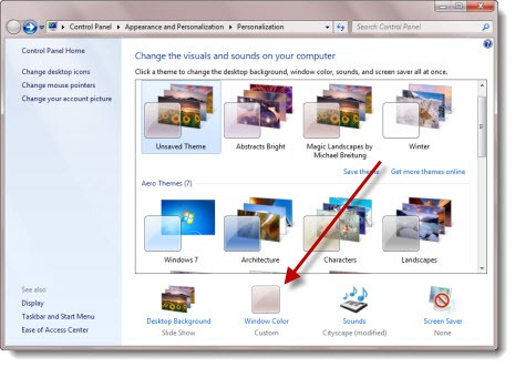 Windows 7 - disable transparency - Window Color