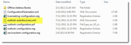 Outlook password prompt RED001 after Office 365 migration - location of autodiscovery.xml file