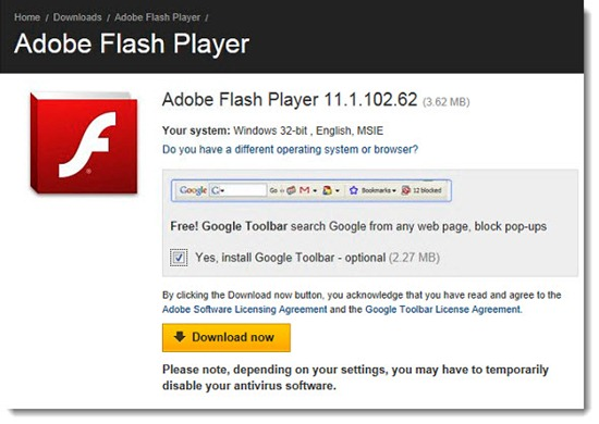 Unwanted toolbars - Google Toolbar and Adobe Flash