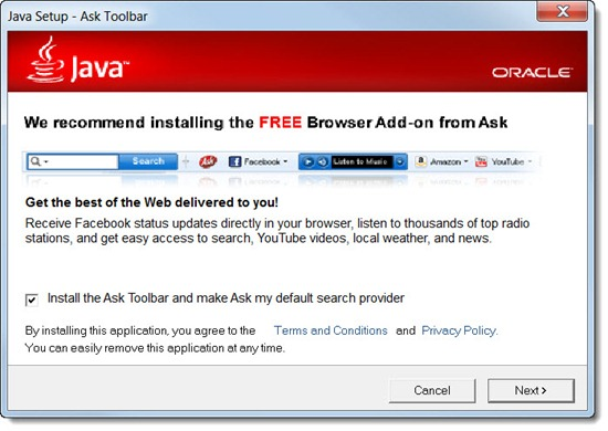Unwanted toolbars - Ask Toolbar and Java