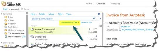 Office 365 - Outlook Web App - conversation view