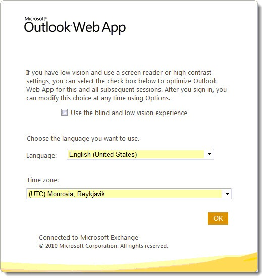 Office 365 - Outlook Web App - time zone
