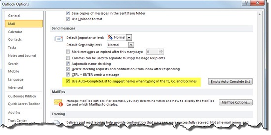 Outlook 2010 auto-complete address list