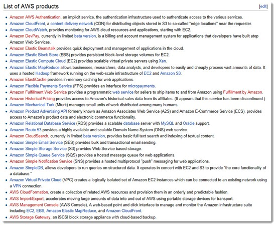 Amazon Web Services - Wikipedia list of AWS products