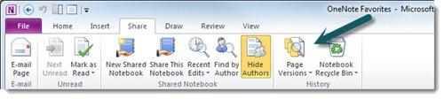 Microsoft OneNote 2010 page versions