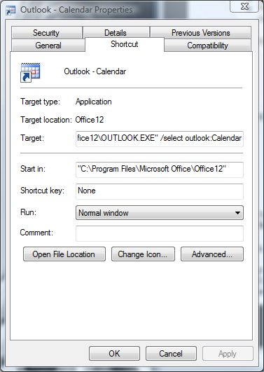 Outlook - select icon for shortcut