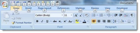 Microsoft Office 2010 - keyboard shortcuts and the Alt key