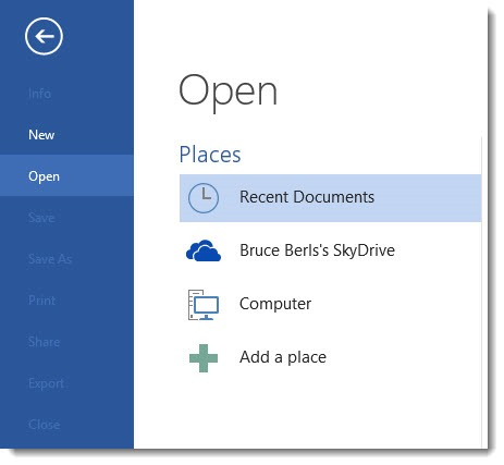 Office 2013 - default open files from Skydrive