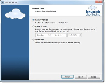 Bruceb Cloud Backup - easy to use software for restoring data