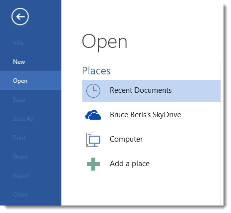 Microsoft Office 2013 - Skydrive as default file location