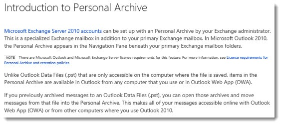 Office 365 personal archives defined (with small print)
