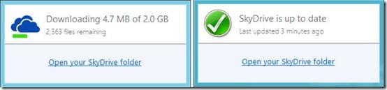 Microsoft Skydrive status window