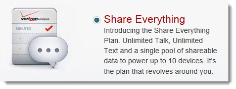 Verizon & AT&T share plans - unlimited calls & text, shared data