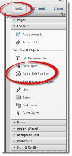 Acrobat X - using the typewriter tool - Add or Edit Text Box