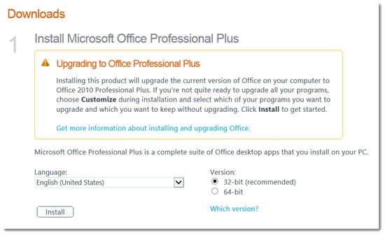 Microsoft Office Professional Plus 2010 - Office 365 download