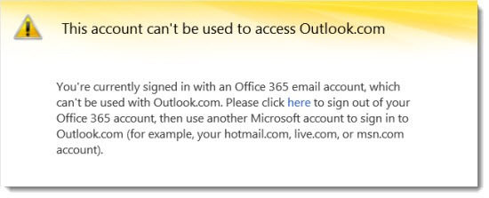 Office 365 - Outlook.com conflict