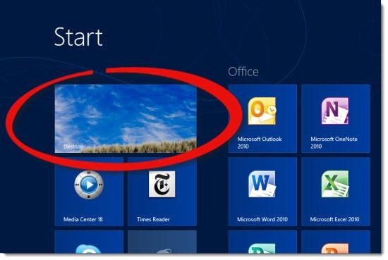 Windows 8 Start Screen - Desktop tile