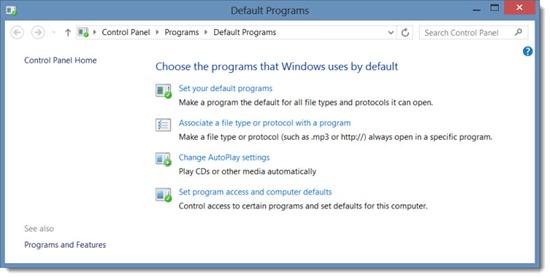 Windows 8 default programs