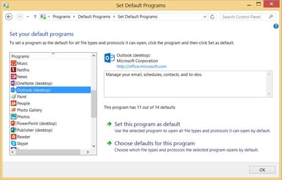 Windows 8 default programs - Outlook