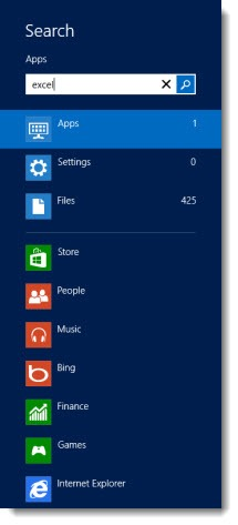 Windows 8 - type on the Start screen to search