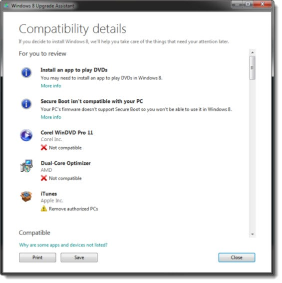 Windows 8 Upgrade Assistant - compatibility details