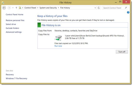 Windows 8 File History - turn on in Control Panel