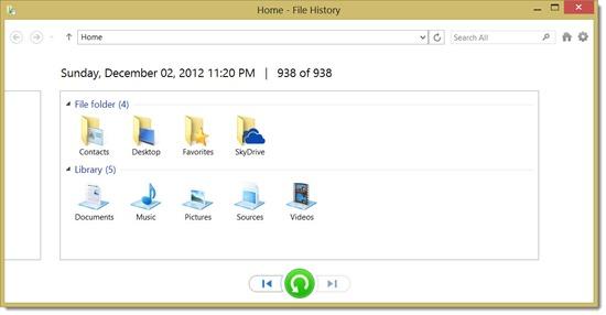 Windows 8 File History - restore