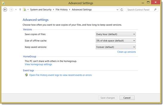 Windows 8 File History - settings
