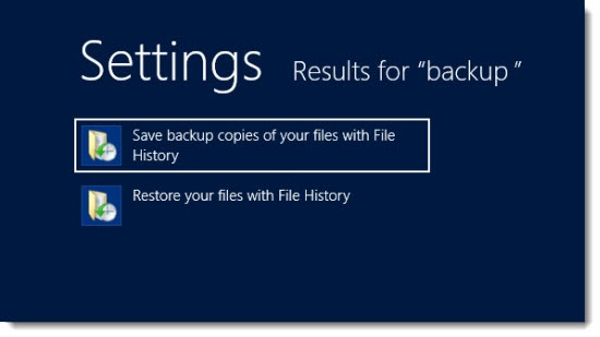 Windows 8 File History - search on Start screen