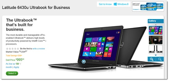 Dell Latitude 6430u - business Ultrabook shown with Windows 8