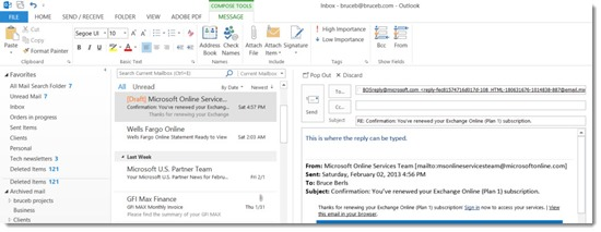 Office 2013 - Outlook - inline replies