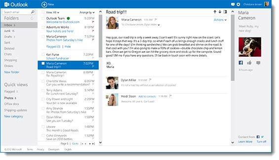 Outlook.com inbox UI