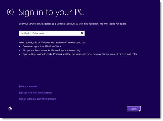 Windows 8 - Sign In With A Microsoft Account
