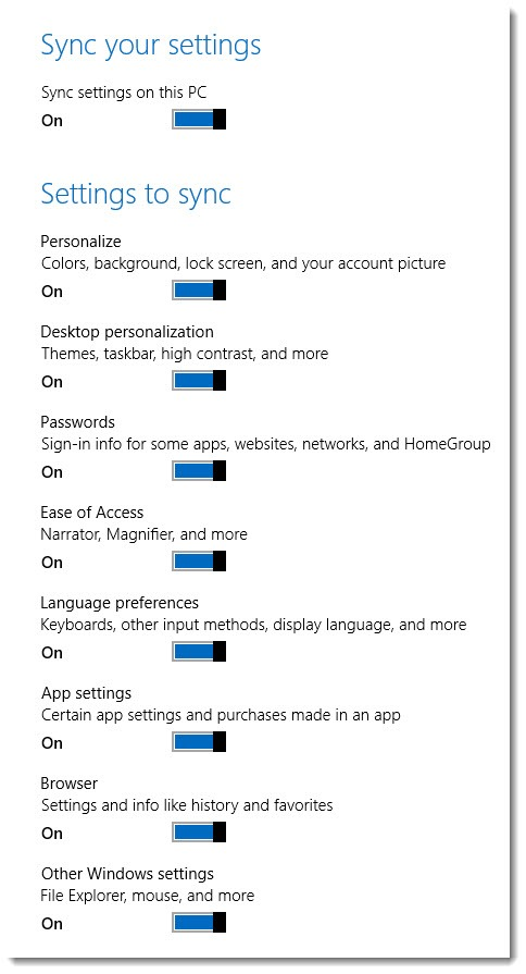 Windows 8 - sync settings