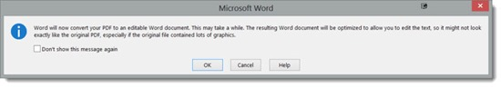 View and edit PDF files in Word 2013