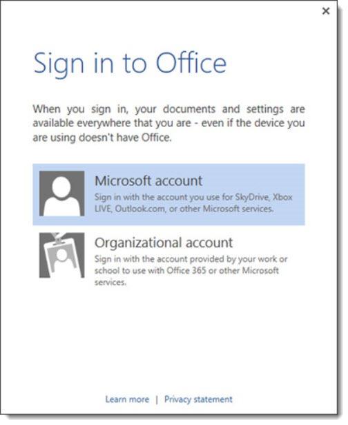 Office install - Microsoft account vs Organizational account