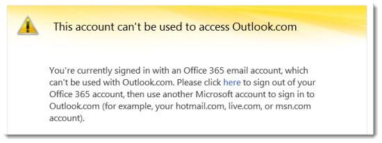 Office 365 - Outlook.com error message