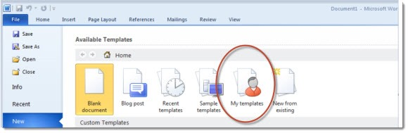 Office - Word 2010 custom templates